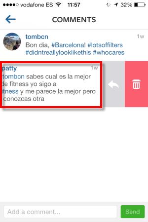 Delete Instagram comment