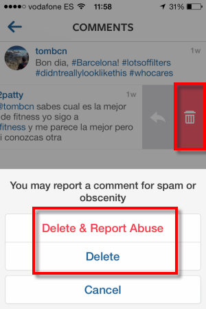 How to delete comments or captions on instagram choose to delete or report spam ccuart Gallery