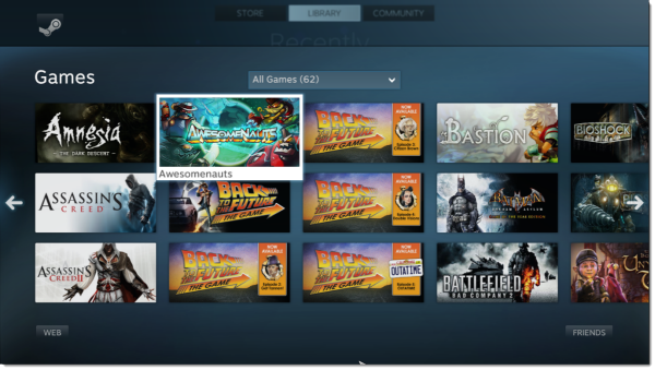 steam big picture games library