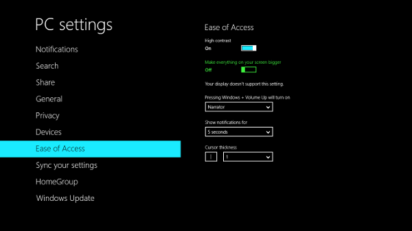 windows 8 easy of access