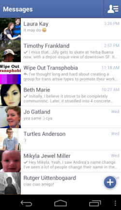 Facebook Messenger for Android's main screen