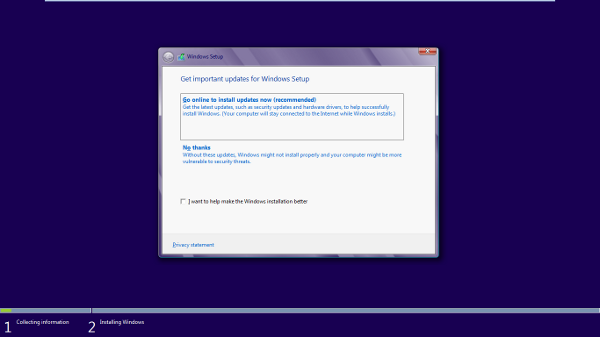 windows 8 installation screen
