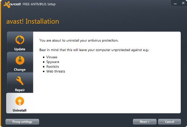 uninstall avast!