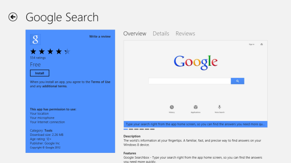 google search for windows 8 download page