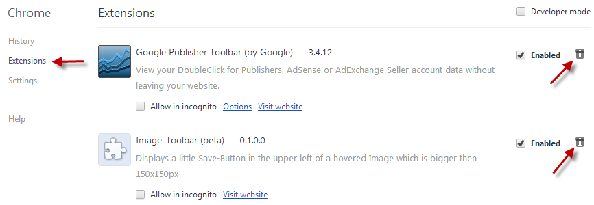 How to remove toolbars in Chrome