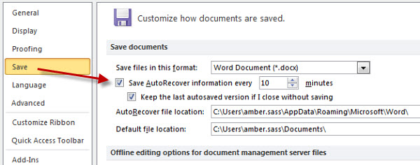 how to revert to a previously saved word document