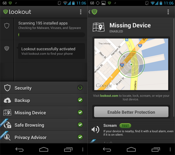 lookout interface android