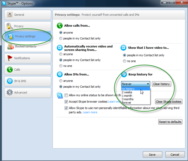 How to delete chat history in Skype