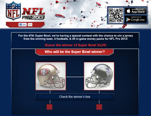 gameloft super bowl facebook contest