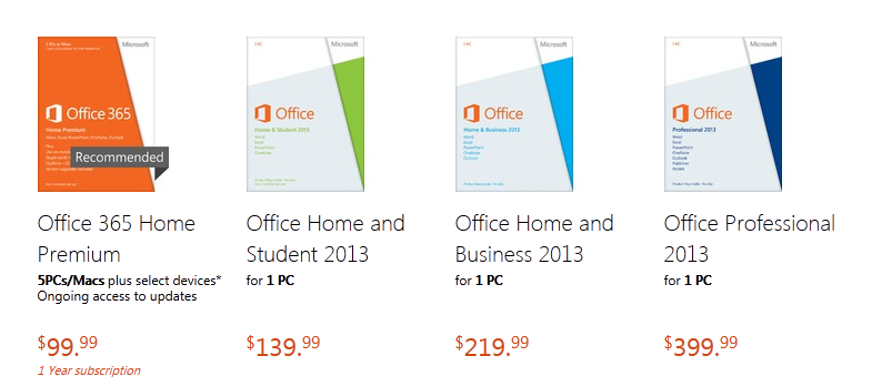 office 2013 pricing
