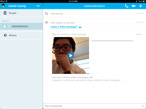 skype ipad video voicemail