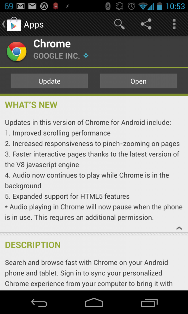 google chrome android update
