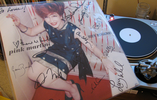 signed pink martini LP