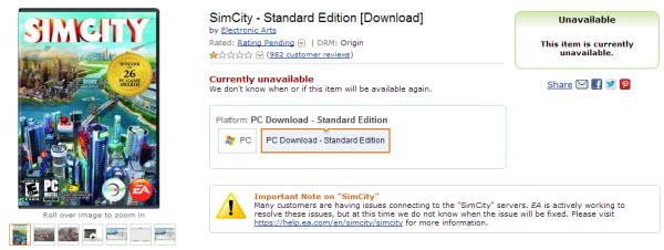amazon simcity page
