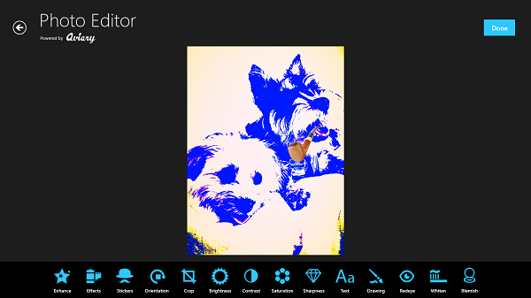 All of Aviary Photo Editor's tools are laid out at the bottom of the app.  This allows for intuitive easy access.