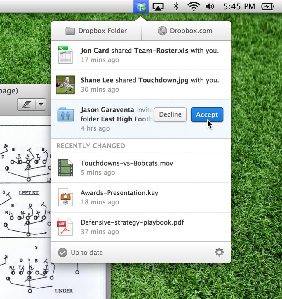 dropbox mac menu