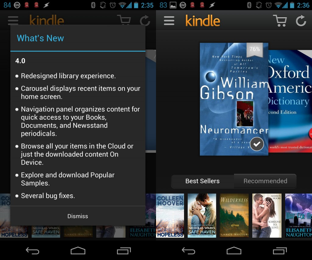 Kindle for Android update