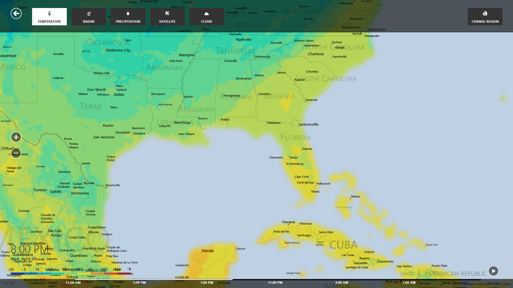 Windows 8 weather map