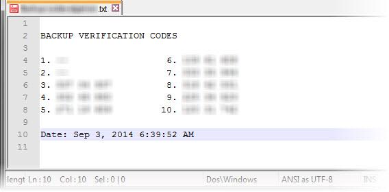 Backup Codes
