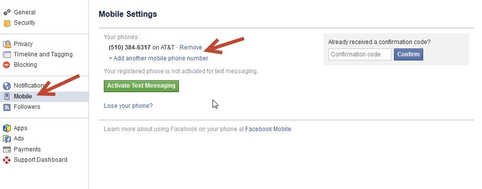 change mobile settings