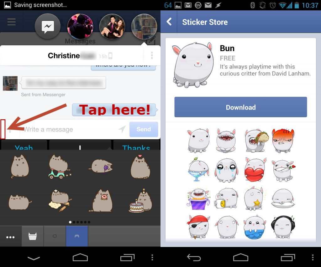 android facebook hidden stickers