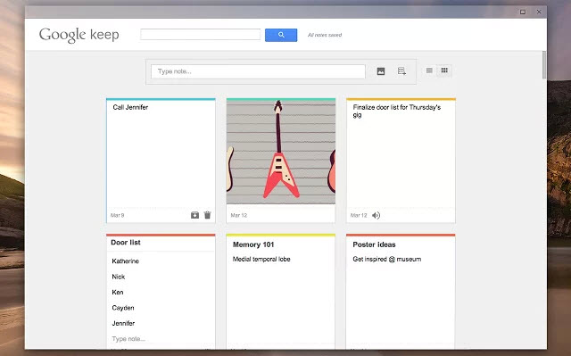 google keep extension