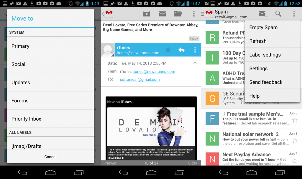 how to delete emails under promotions on android