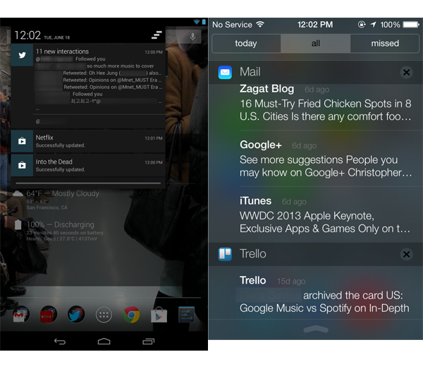 Android 4.2.2 vs iOS 7 Beta