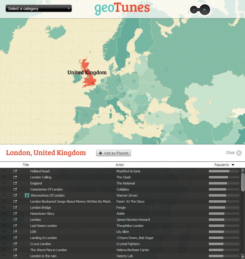 GeoTunes procura músicas de acordo com a localização geográfica