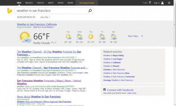 weather in san francisco bing results