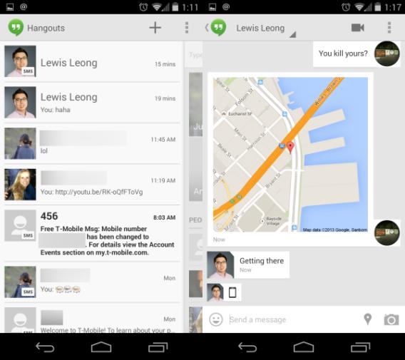 Android 4.4 KikKat : Hangouts