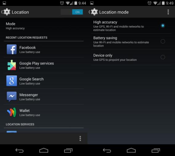 Android 4.4 KikKat : Options de localisation personnalisables