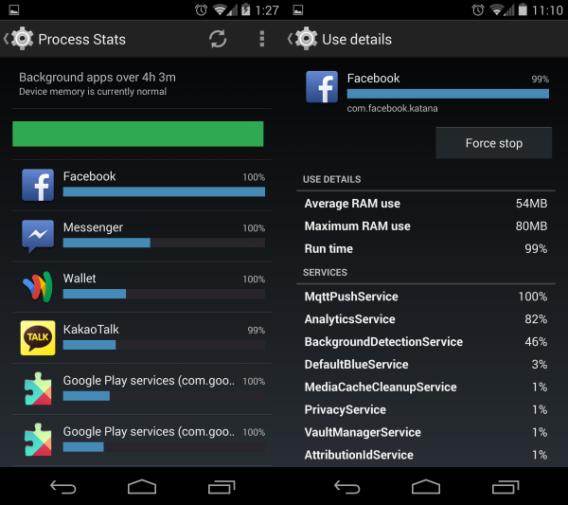 Android 4.4 KikKat : Options de développement et statistiques