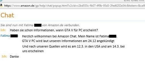 GTA V on PC - the German Amazon chat