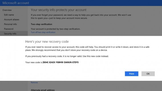 Microsoft recovery codes