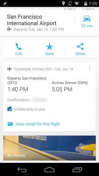 Google Maps flight info