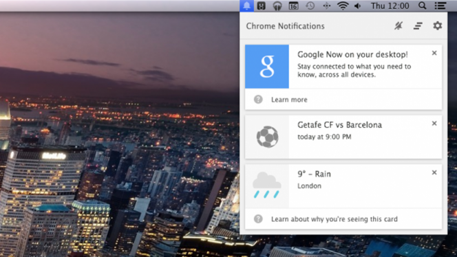 Google Now Chrome Canary header