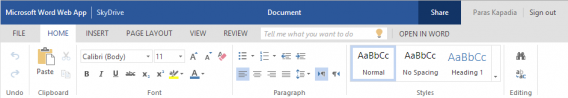 Office Web Apps updated ribbon menu