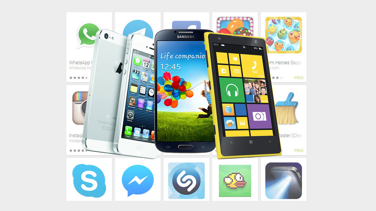 Which OS has the most popular apps: iOS, Android or Windows Phone?
