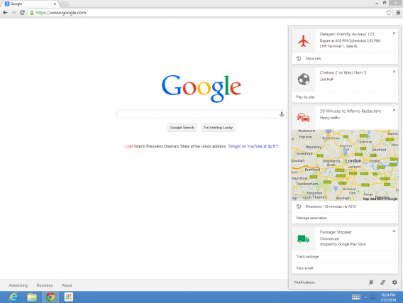 Google Now in Chrome beta