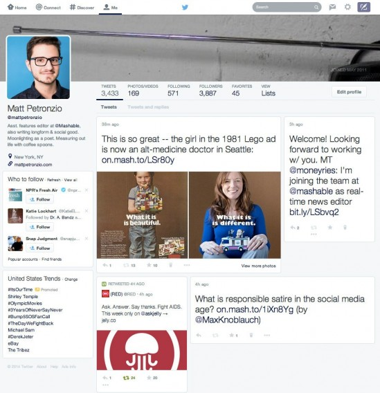 Mashable - Twitter redesign