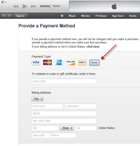 Choose 'None' for payment method