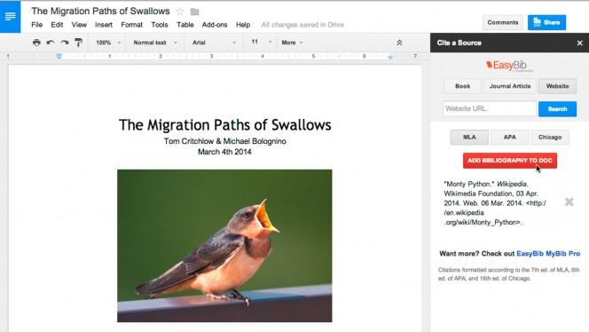 EasyBib Google Docs add-on header