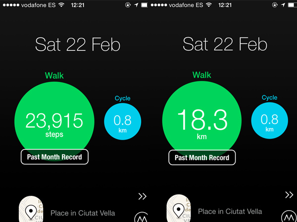Moves calculates steps, distance and calories