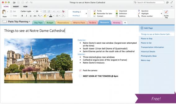 OneNote for Mac screenshot