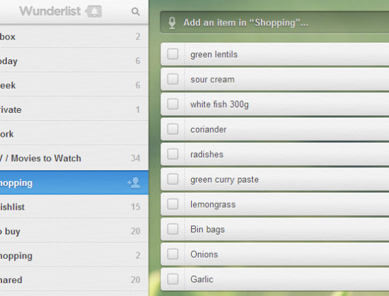A shopping list in Wunderlist