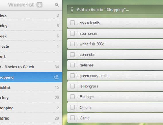 Lista de compras no Wunderlist