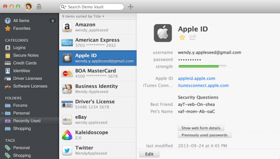 1password for Mac