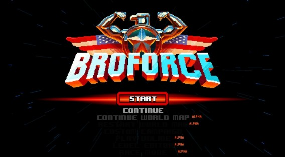 Broforce start menu