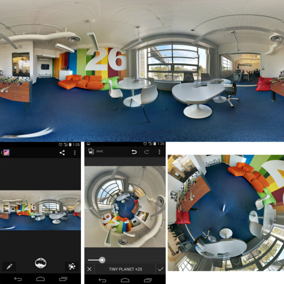 Google Photo Sphere into Tiny Planet